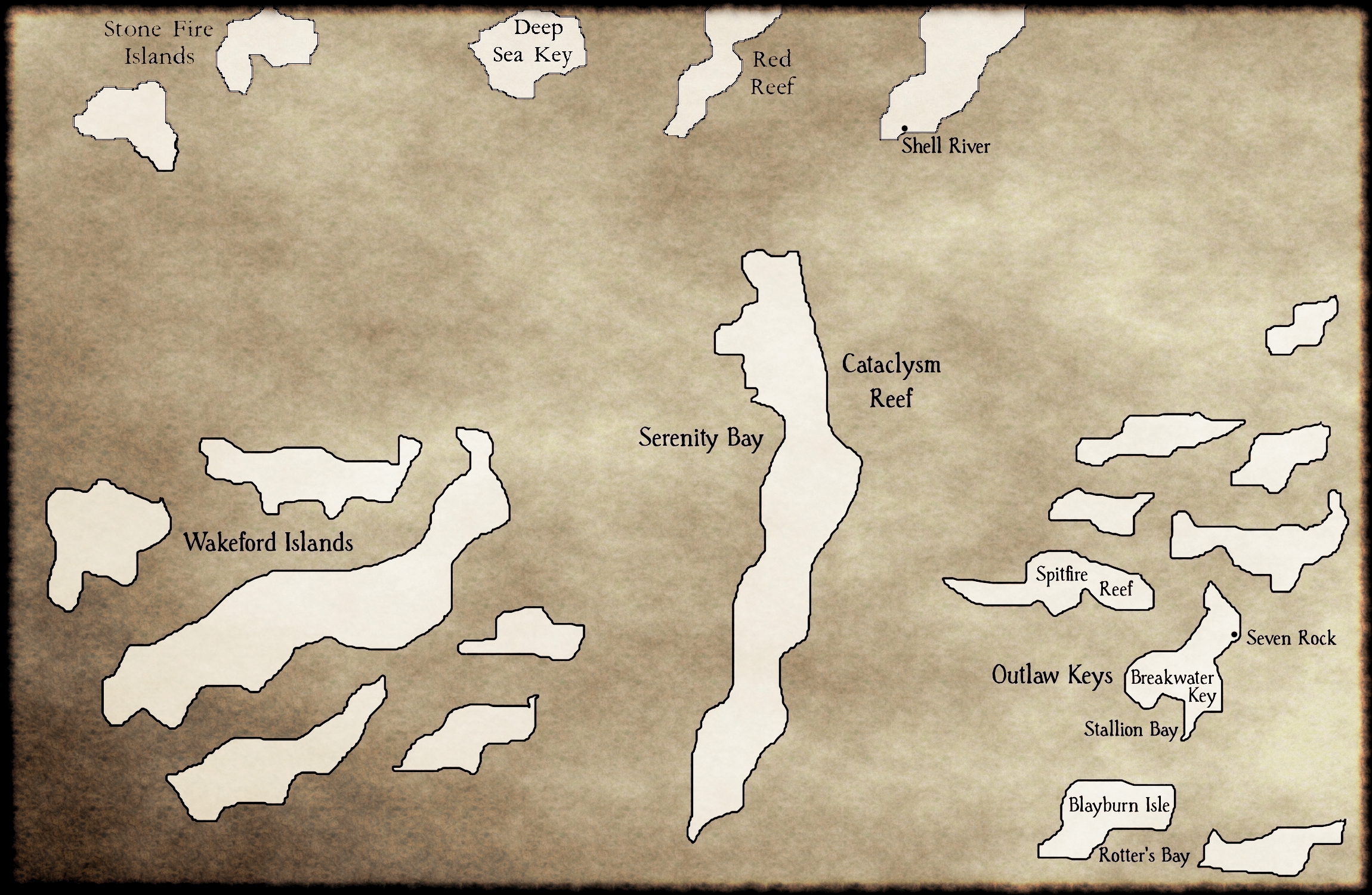 Wakeford Islands and Outlaw Keys Old Map